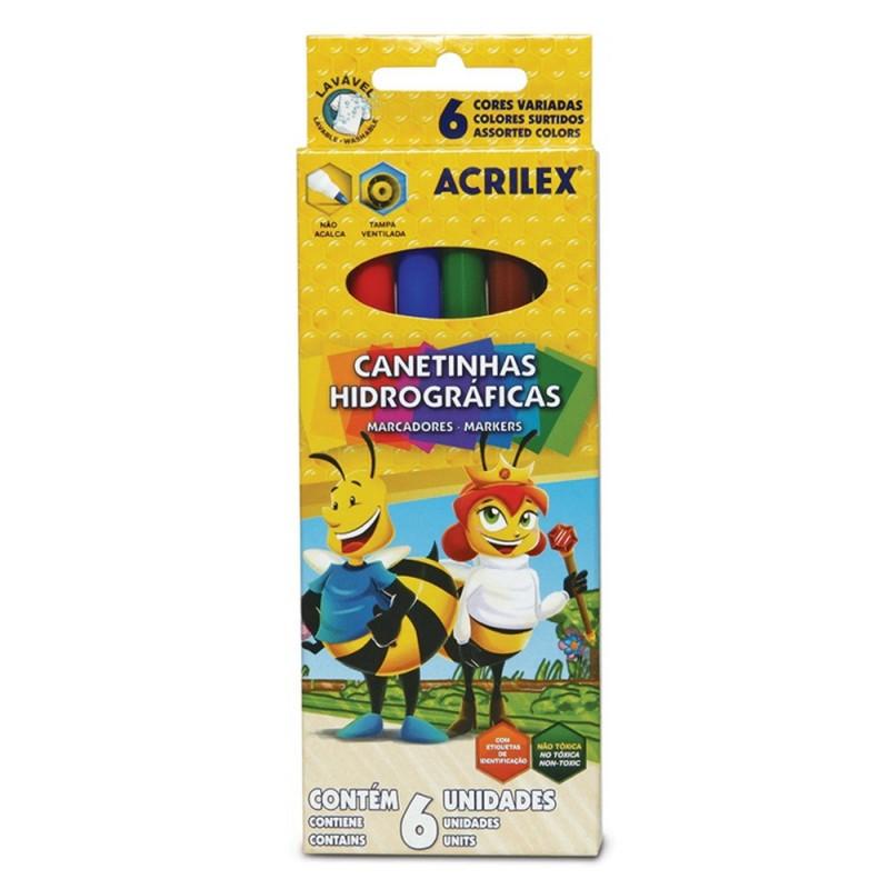 Canetinhas • Hidrográficas • 6 Cores • Acrilex