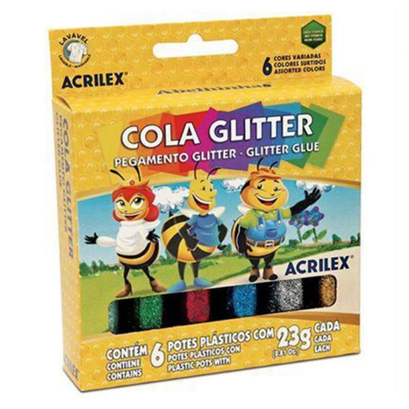 Cola • Glitter • 6 Cores • Acrilex
