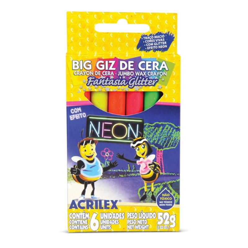 Big Giz de Cera • Efeito Neon • Glitter • 6 cores • Acrilex