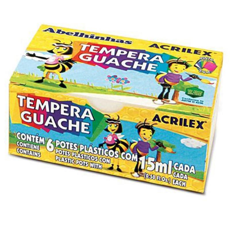 Tempera Guache • 6 cores • 15 ml • Acrilex