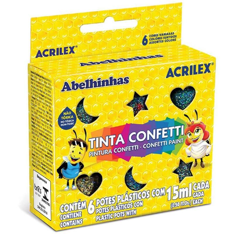 Tinta • Confetti • 6 Cores • 15 ml • Acrilex