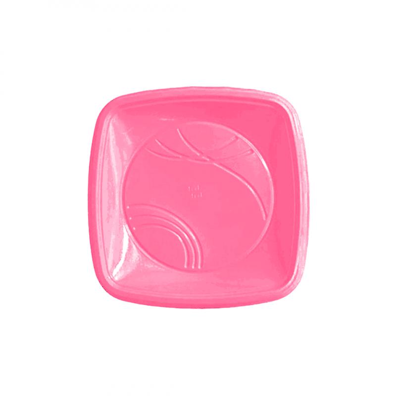 Prato Quadrado Biodegradável Rosa- Trik Trik