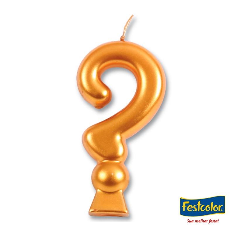 Vela Ponto de Interrogação Dourada• Festcolor