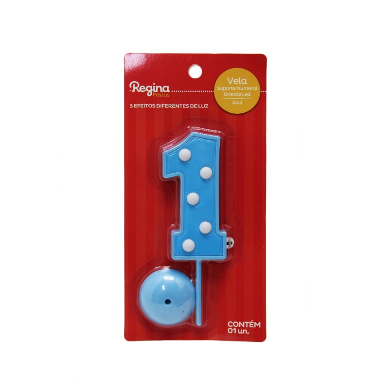 Vela Suporte Numeral N° 1 • Led • Azul • Regina