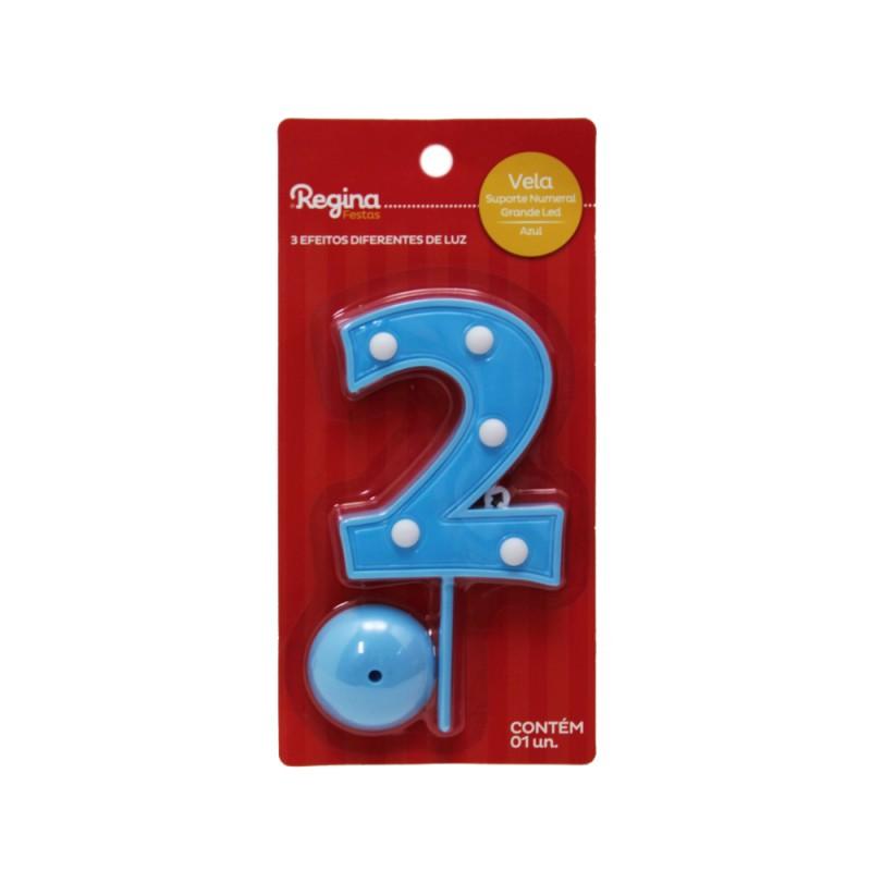 Vela Suporte Numeral N° 2 • Led • Azul • Regina