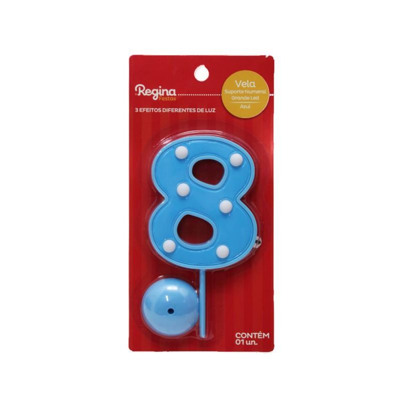 Vela Suporte Numeral N° 8 • Led • Azul • Regina
