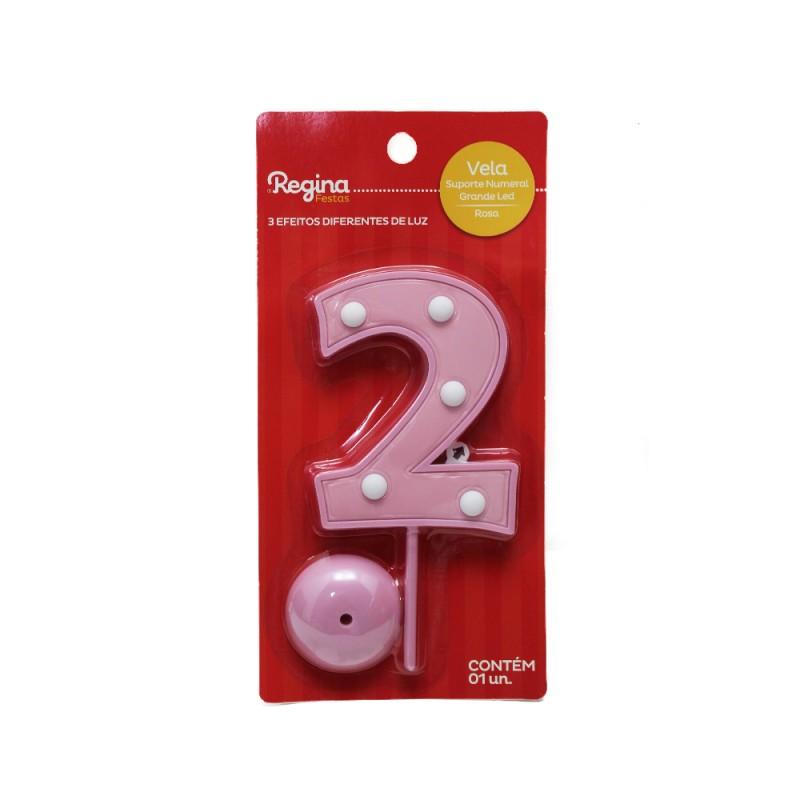 Vela Suporte Numeral N° 2 • Led • Rosa • Regina