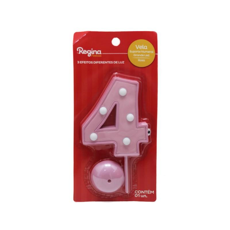 Vela Suporte Numeral N° 4 • Led • Rosa • Regina